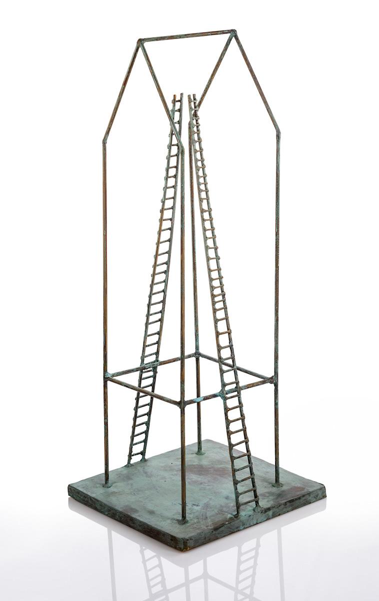 Hausboot mit zwei Leitern